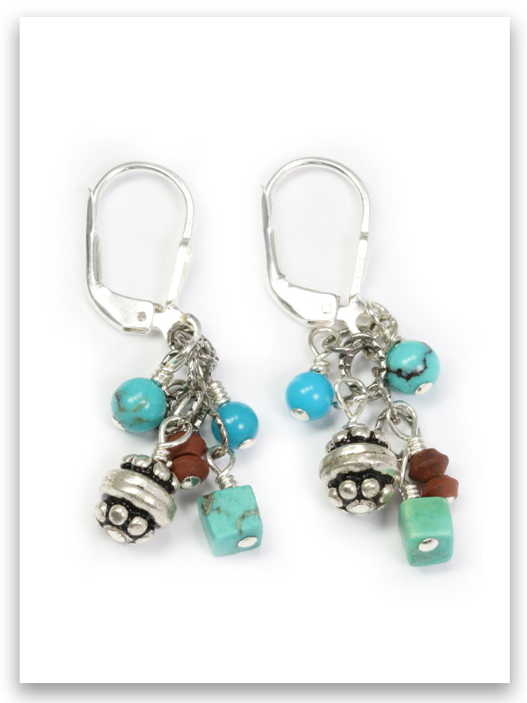 Turquoise and Jasper Cluster Earrings
