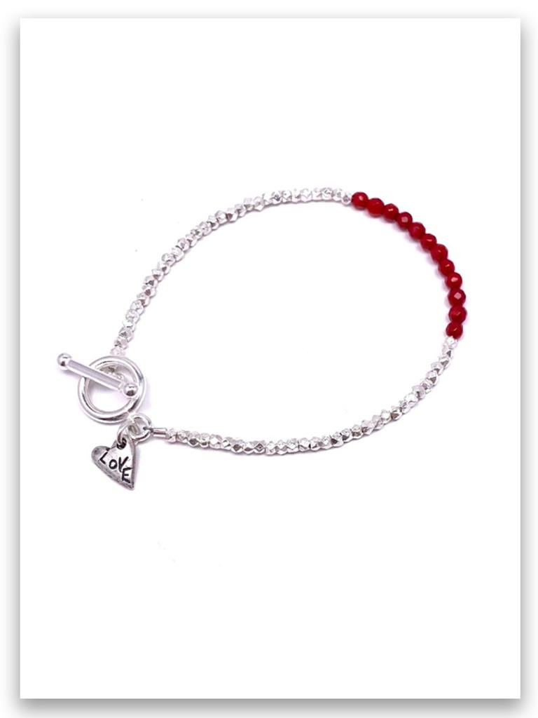 Love Red Coral Hammered Silver Bracelet