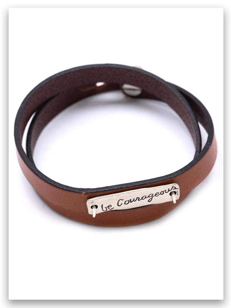 Be Courageous Leather Wrap Bracelet