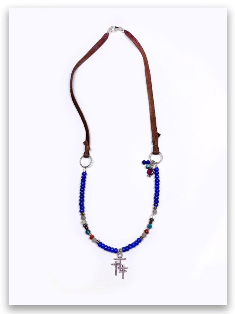 Trio Cross Lapis Deer Leather Necklace
