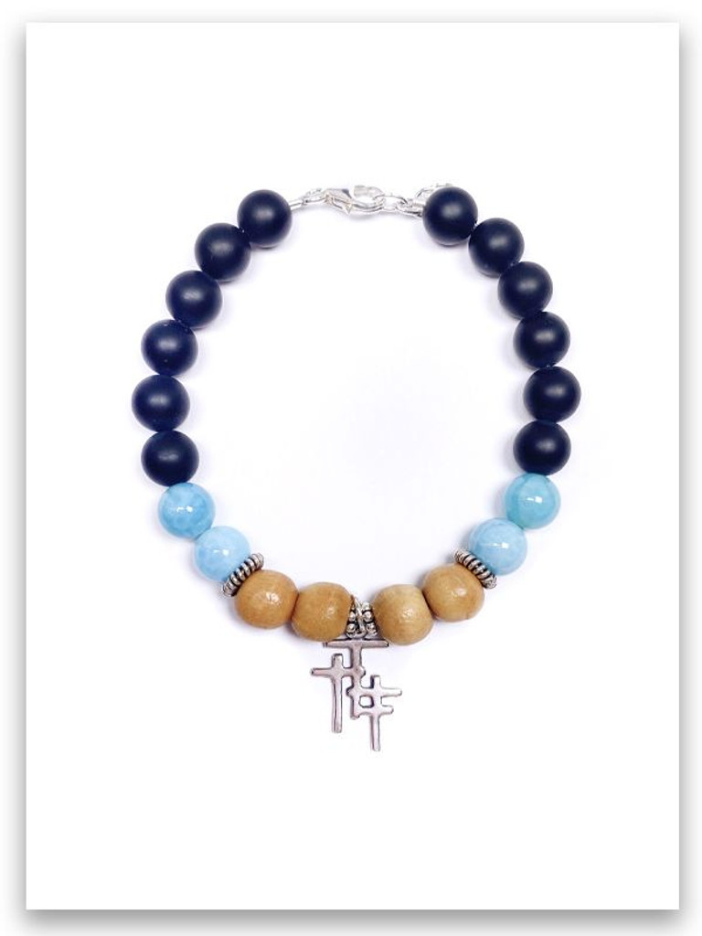 Trio Cross Olive Wood Onyx Bracelet