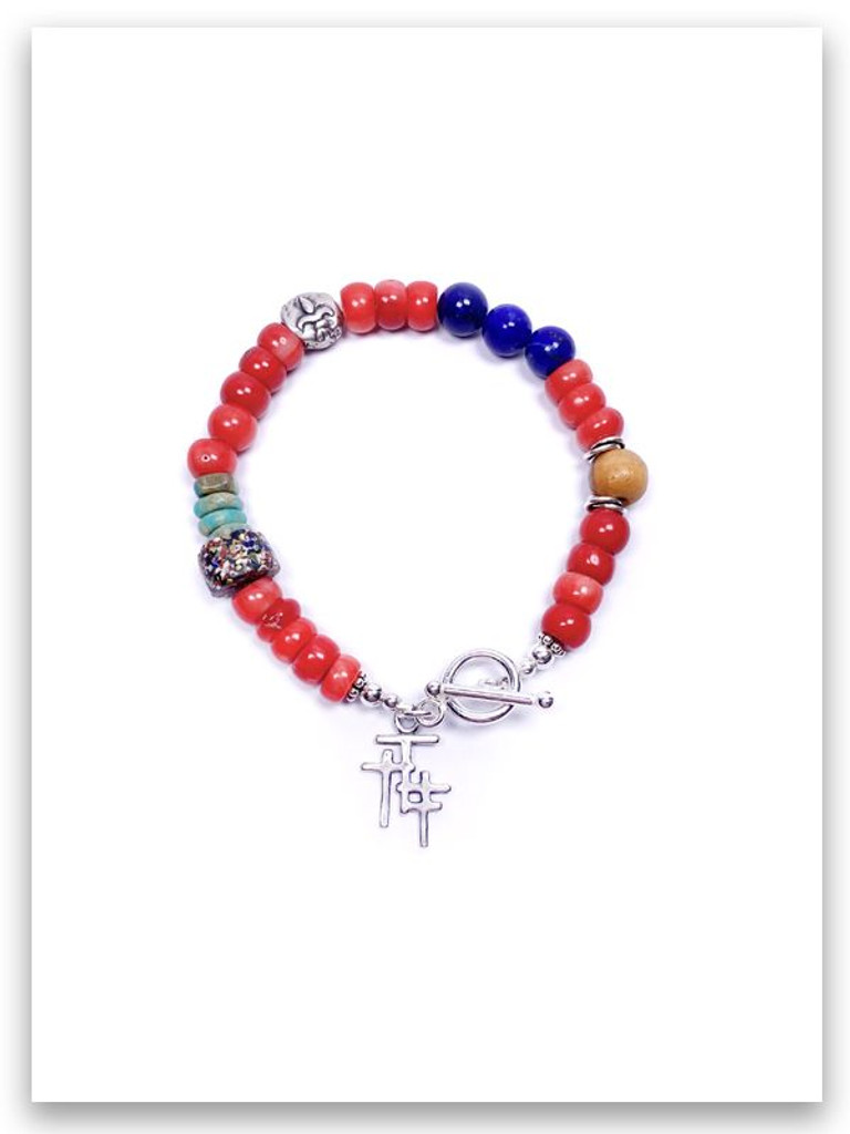 Trio Cross Red Coral Lapis Stone Bracelet