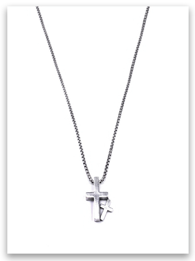 Daddy & Me Cross w/Medium Box Chain Perfect New Dad Necklace