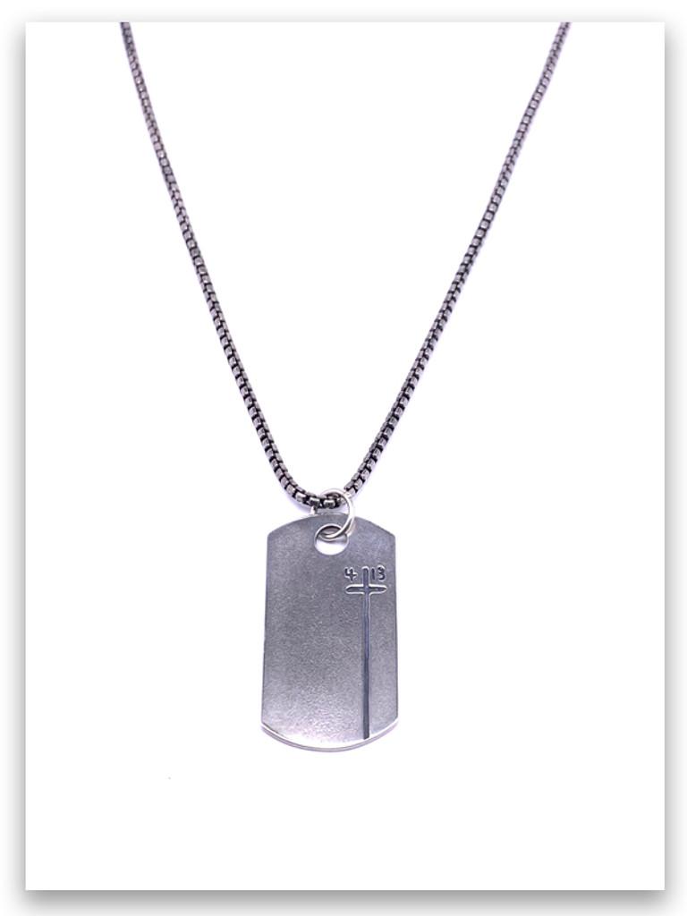 Dog Tag Phil 4:13 Mens Necklace w/Medium Box Chain
