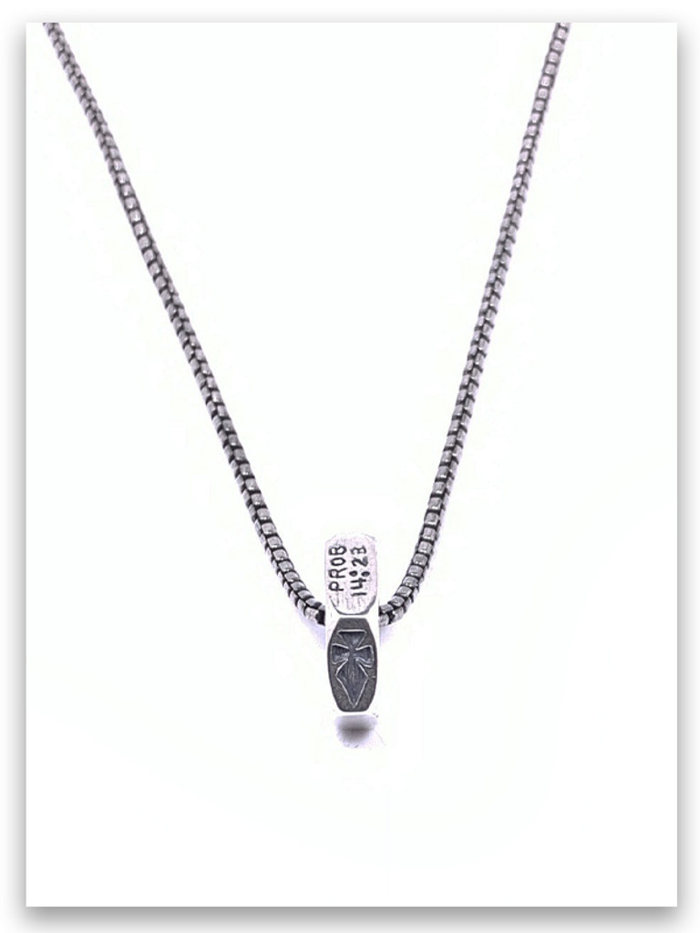 Hard Work Christian Men Necklace w/Medium Box Chain (side view)