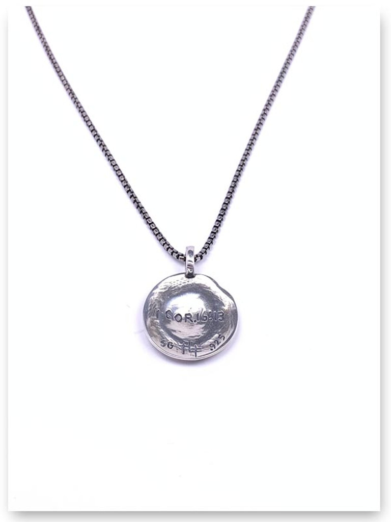 Hoplon Shield Necklace (back view) on Med Box Chain for Husband