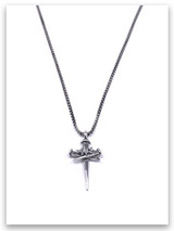 Sacrifice Cross Necklace for Men w/Medium Box Chain