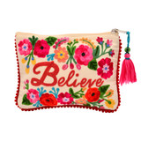 Believe Embroidery Jewelry Pouch