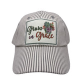 GROW IN GRACE PATCH ON GREY & WHITE STRIPED