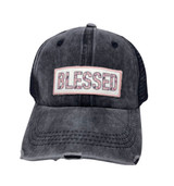 BLESSED FLORAL PATCH ON DISTRESSED BLACK