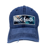 HAVE FAITH PATCH ON NAVY DISTRESSED