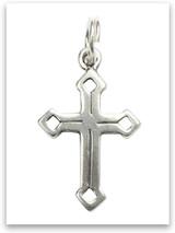 Sterling Silver Diamonds Cross Charm