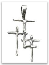 Trio Cross Sterling Silver Pendant