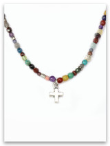 Stones Cry Out Bold Faith Cross Necklace Multi-Stones