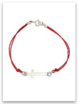 East-West Silk Cord Bracelet, Forgiveness, Sideways Cross