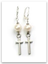 Pearl East-West Cross Earrings
