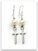 Pearl East-West Cross Earrings