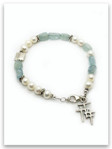 Aquamarine and Pearl Trio Cross Bracelet