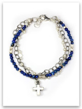 Bold Faith Pearl and Lapis Triple Strand Bracelet
