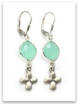Tiny Cross Big Power Aqua Stone Earrings