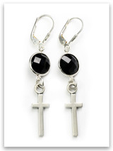 Precious Onyx Stone East West Cross Earring