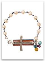 Power of God Cross Pearls and Leather Christian Bracelet