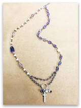 East West Christian Amethyst Fresh Water Pearl Cross Necklace