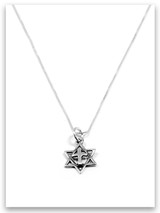 Star of David Sterling Silver Charm Necklace