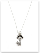 Key Sterling Silver Charm Necklace