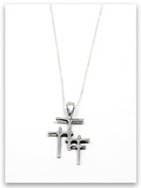 Trio Cross Sterling Silver Pendant Necklace