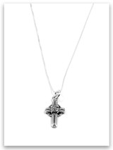 Friendship Cross Sterling Silver Charm Necklace