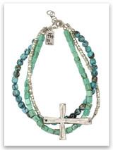 Power of God Turquoise Hammered Silver Bracelet
