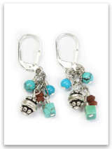 Turquoise and Jasper Cluster Earrings