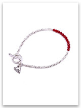 Love Red Coral Hammered Silver Bracelet