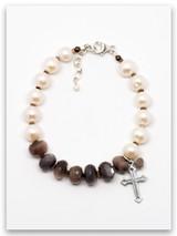 Precious Diamonds Pearl and Chocolate Moonstone Bracelet