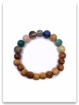 Olive Wood Multi Stone Fleur-De-Lis Bracelet