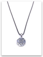 Redeemed Cross  Necklace w/Medium Box Chain (back view)