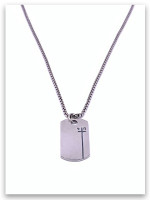 Dog Tag Phil 4:13 Sterling Silver w/Heavy Box Chain