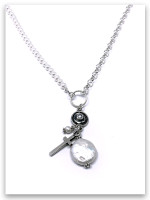 East To West Coin Pearl Rolo Chain and Pearl Necklace
