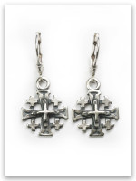 Jerusalem Cross Sterling Silver Earrings (Lever Backs)