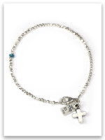 Sterling Silver Hammered Silver Bracelet with the Bold Faith Cross