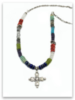 Unbreakable Cross MultiStone Sterling Silver Necklace