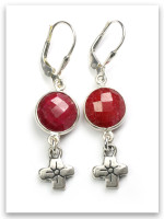 Be Kind Cross Earrings with Red Stone
