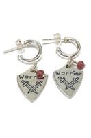 Pink Warrior Sterling Silver Hoop Earrings