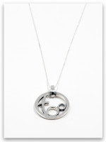 Circle of Love Sterling Silver Mother Pendant Necklace- 2 Children