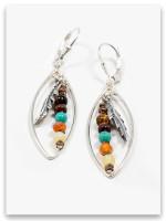 Fly Precious Stone Oval Earrings