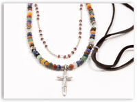 Daily Multi Stone Adjustable Deer Leather Necklace