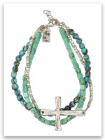 Power of God Turquoise Hammered Silver Bracelet