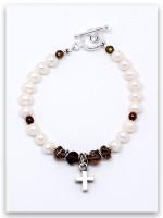 Bold Faith Smokey Topaz Pearl Bracelet