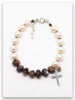 Precious Diamonds Pearl and Chocolate Moonstone Bracelet